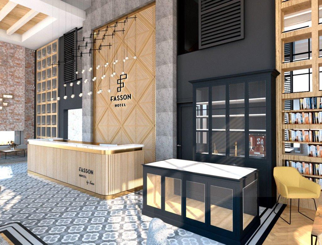 Renering von Reception Theke Fasson Hotel