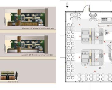 Floor plan and renderings for Kanne Café in Ingolstadt