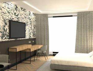 Rendering Fasson Hotel Heede Hotelzimmer mit Fenster