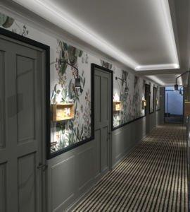 Rendering Fasson Hotel Heede Hotelflur