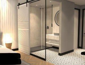 Rendering Fasson Hotel Heede Hotelzimmer mit Badezimmer